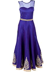 Monika Silk Mill Presents Designer Blue Silk Gown