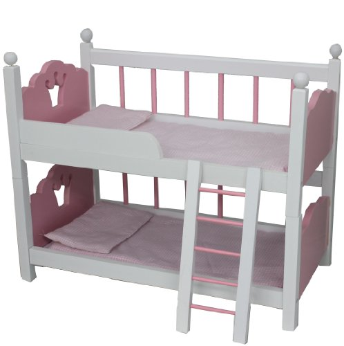 Mommy & Me 2 in 1 Wooden Bunk Bed with Bedding - Fits American girl 18'' Dolls Amazon.com