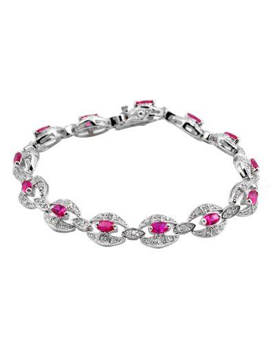 Simulated Ruby C.Z. Diamond Oval Link Silver Bracelet