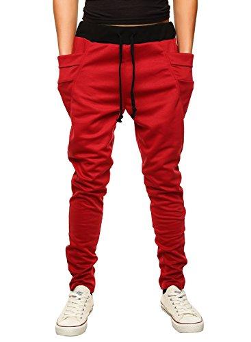 HEMOON Pantaloni da Uomo Jogging Tuta sportivo Tacksuit Slim Fit Rosso Large