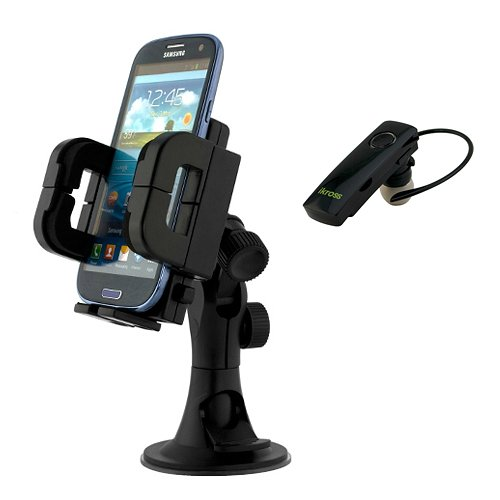 Ikross 3In1 Car Vehicle Windshield / Dashboard / Air Vent Mount Holder + Black Mini Bluetooth Handsfree Headset For Samsung Galaxy S5 Active, Ativ Se, Galaxy S5, Galaxy Note 3, Galaxy Mega 6.3, Galaxy S Iv / S4; Nokia, Blackberry, Htc, Lg, Motorola Cellph