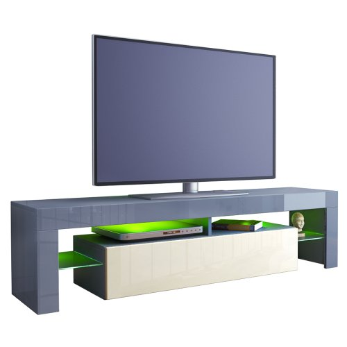 TV Stand Unit Lima in Grey / Cream High Gloss Black Friday & Cyber Monday 2014