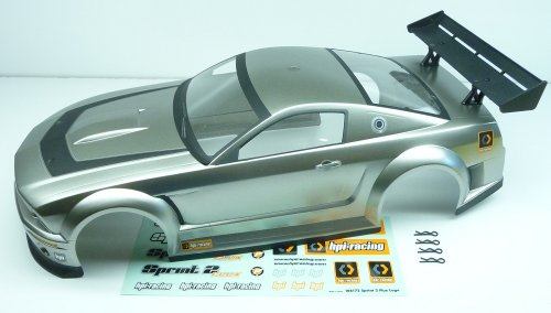 HPI Sprint 2 Flux * GT-R MUSTANG BODY & WING SILVER * Shell Cover Camaro 106159 (2002 Rc Camaro Body compare prices)
