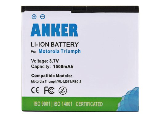 Anker® 1500mAh Li-ion Battery For Motorola Triumph WX435, Fits FB0-2 - White
