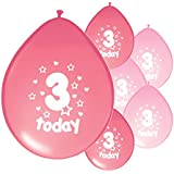 10 x 3RD BIRTHDAY GIRL/ AGE 3 GIRL PINK AND LIGHT PINK MIX PACK BIRTHDAY BALLOONS (PA)