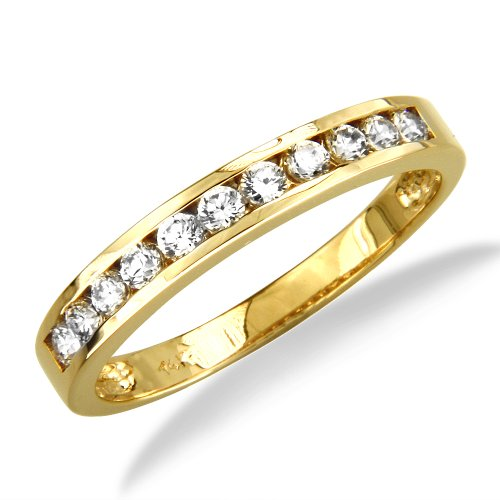 14K Yellow Gold Channel Set Round CZ Cubic Zirconia Bridal Wedding Anniversary Ring Band 0.35ct