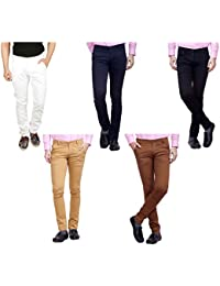 Nimegh White, Black, Navy Blue, Maroon And Wine Color Cotton Casual Slim Fit Trouser For Men's (Pack Of 5)