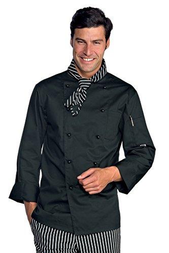 Isacco Giacca Cuoco Classica - Isacco Nero, Nero, XL, 65% Poliestere 35% Cotone, Manica Lunga, Bottoni antipanico - Tessuto 195 gr/m²