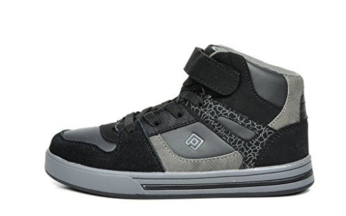 Dream Pairs GLY4108 Boy's Athletic Velcro Strap Light Weight Running High Top Sneakers Shoes Black-Grey Size 4