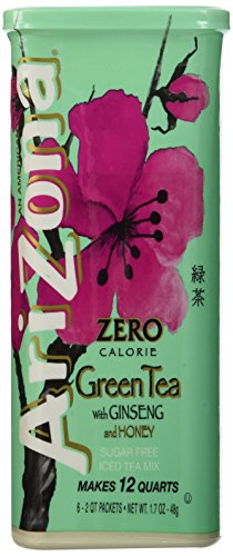 Arizona Sugar Free Green Tea with Ginseng Iced Tea Mix, Tubs in Canister- 1.7 oz, 12 ct