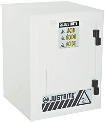 "Justrite 24004 Safety Cabinet for Corrosive Liquids, 1 Door, Six 2-1/2 Liter bottles, 22""Height, 17""Width, 17""Depth, Polyethylene, White"