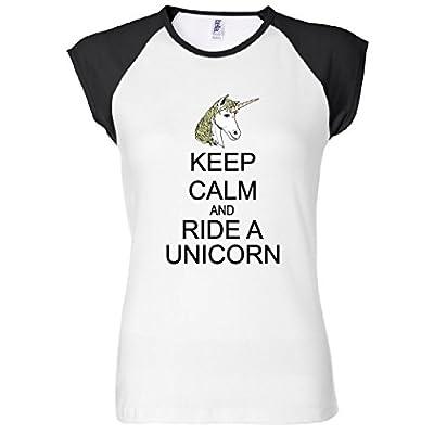 Keep Calm and Ride A Unicorn Women's Raglan T-Shirt