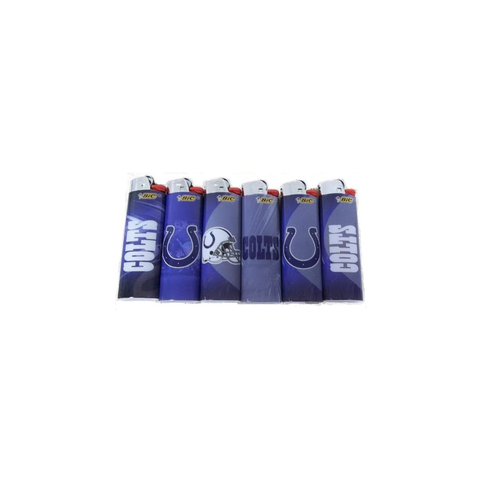6pc Set BIC Indianapolis Colts NFL Officially Licensed Cigarette Lighters