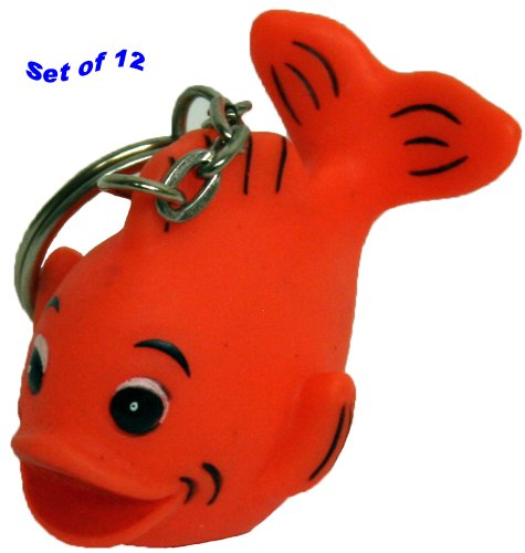 Rubber Gold Fish Keychain Gift Pack Of 12, Waddlers Brand Personality Themed Lively Mini Rubber Gold Fish front-695534