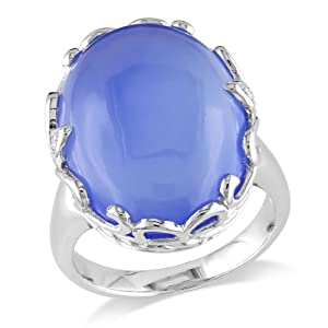 Sterling Silver Accent Diamond and Chalcedony Ring (0.02 Cttw, G-H Color, I2-I3 Clarity)