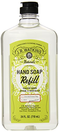 J.R. Watkins Liquid Hand Soap Refill, Aloe And Green Tea, 24 Fluid Ounce (Pack Of 6)