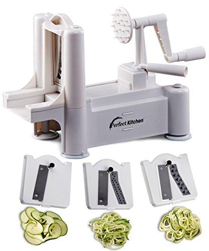 iPerfect Kitchen Tri-Blade Vegetable Spiralizer, Envy Spiral Slicer - Zucchini Spaghetti Pasta Maker (Zucchini Pasta Spaghetti Maker compare prices)