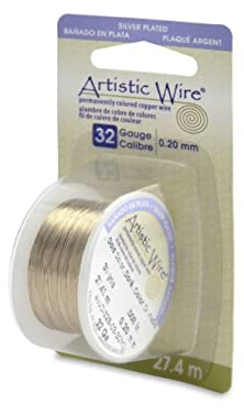 buy Artistic Wire 32-Gauge Silver Plated Gold Wire, 30-Yards