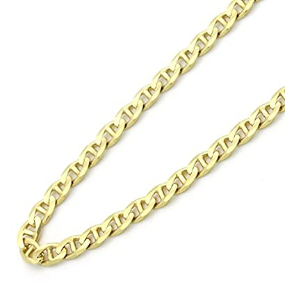 40bf1360fe327 14K Gold 2.5mm Italian Flat Mariner Link Chain Necklaces ( Available ...