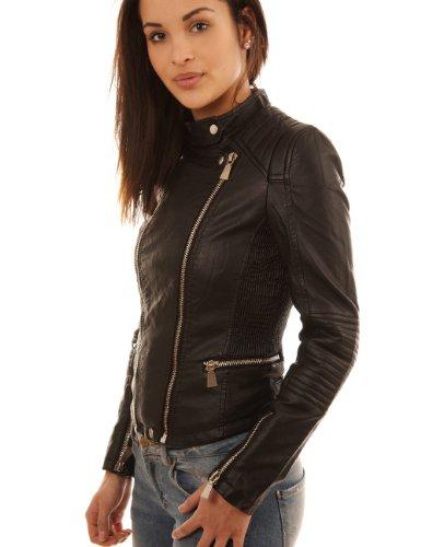Balingi Faux leather Biker jacket for women BA10424, Größe:42;Farbe:Black