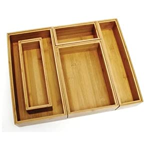 Lipper International Stackable Bamboo Organization Boxes, Set of 5