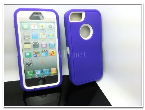 Best  Multi Color Iphone 5 5S Body Armor Silicone Hybrid Cove Hard Case, Three Layer Silicone PC Case Cover for iPhone 5 5S (Purple+White)