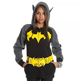 Batman Logo Black Gray Junior Girls Hoody