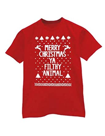 Green Turtle - Merry Christmas Ya Filthy Animal Red Small T-Shirt