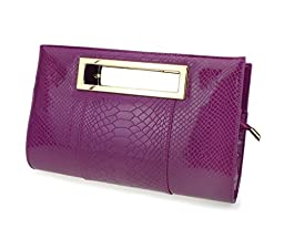 Hoxis Classic Crocodile Pattern Faux Patent Leather Cut it out Clutch with Shoulder Strap Womens Handbag (Purple)