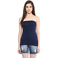 Ajile by Pantaloons Women's Casual Solid Tube Top (205000005588890_Navy_ L)