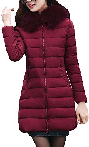 La Vogue-Imbottito Cappotto da Donna Invernale con Cappuccio, Rosso, Busto 100cm