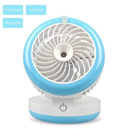 Soter 3 in1 Portable Air Conditioner Handheld USB Mini Misting Fan with Powerbank and Personal Cooling Quiet Cool Mist Air Ultrasonic Humidifier (blue)