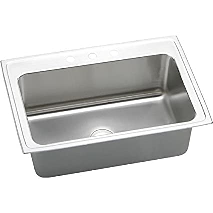 Elkao|#Elkay DLRS3322123 18 Gauge Stainless Steel 33 Inch x 22 Inch x 11.625 Inch single Bowl Top Mount Kitchen Sink- 3 Hole,