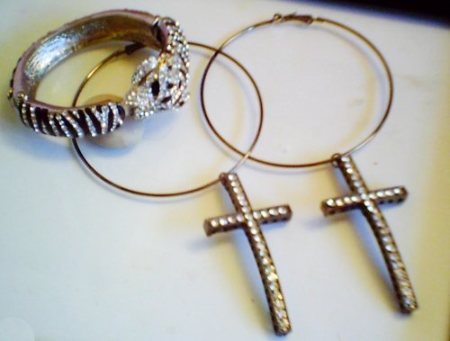 Pave Crystal Encrusted Leopard Bangle and Crystal Cross Hoops Jewelry Set