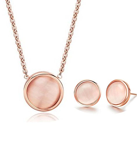 findout-14K-Rose-Gold-berzogenen-Titanstahl-Opal-Bean-Anhnger-Halskette-Ohrringe-Set-Fr-Frauen-Mdchen