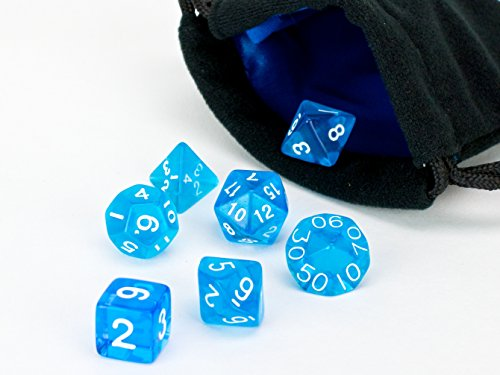 Polyhedral Dice Set | Blue Translucent | 7 Piece | PRISTINE Edition | FREE Carrying Bag | Hand Checked Quality With | Money Back Guarantee