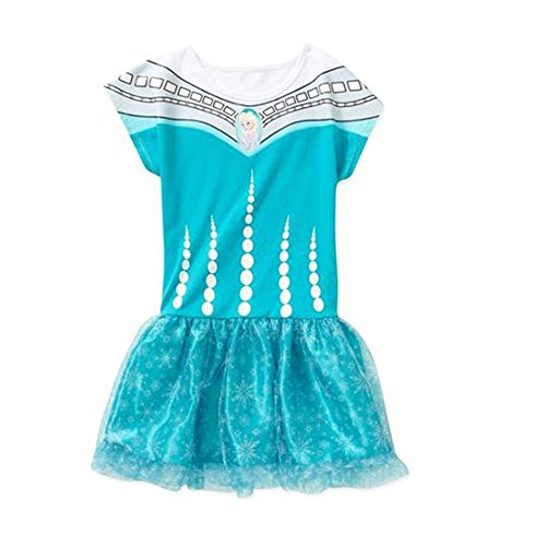 Disney Frozen Elsa Short Sleeve Tutu Dress Big Girl'S Size L (10-12)