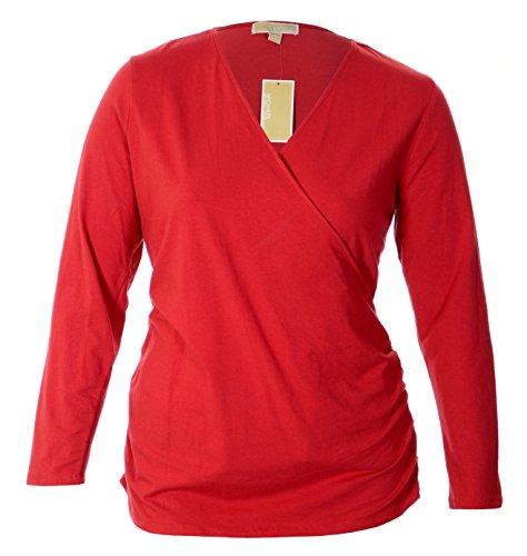 Women'S Log Sleeve Cotton Blend Surplice Stretch Blouse, Plus Size 2X, Red