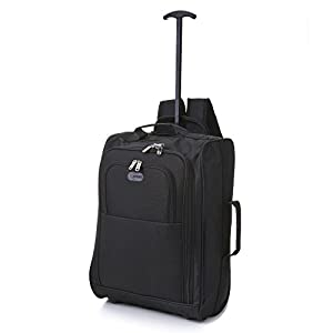 5 Cities Cabin Approved Multi-use Carry On Flight Bags/Luggage Trolley Bag Backpacks, Ideal 50x40x20cm Ryanair Travel Two Wheeled Roller Suitcases with 33L Capacity