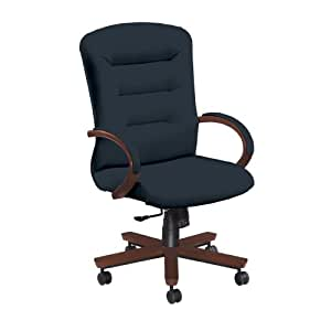 National Office Furniture Remedy High Back Executive Wood Office Chair, Cordovan Walnut, Navy Faux Leather
