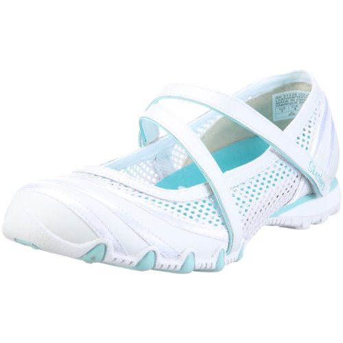 Skechers Women's Bikers Proposal Ballerina, White/blue, UK 5