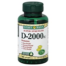 Nature's Bounty Vitamin D, Super Strength, 2000 IU, Softgels, 200 ct.
