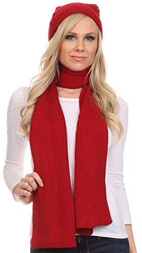 sakkas-chss1540-aldis-unisex-ribbed-knit-beanie-hat-and-scarf-set-red-os