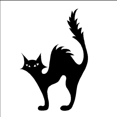 Halloween Scared Cat Decal Sticker Removable Wall Art, BLACK