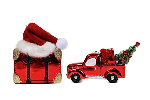 Metallic Red Classic Pickup Truck & Vintage Suit Case Christmas Tree Ornament (Truck Trader compare prices)