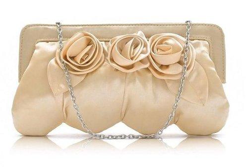 Roses Evening Handbag Clutch Purse Convertible Bag w/Removable Chain