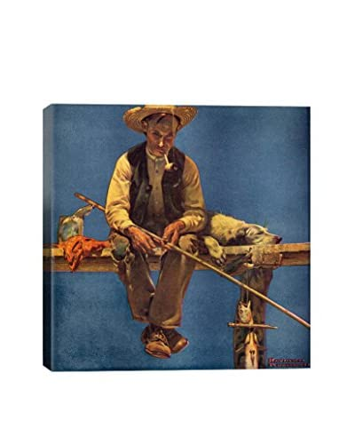 Norman Rockwell Man On Dock Fishing Giclée Print