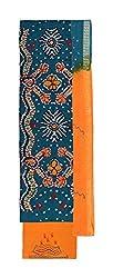 Bandhej Mart Women's Cotton Salwar Suit Material (Rama Green and Orange)