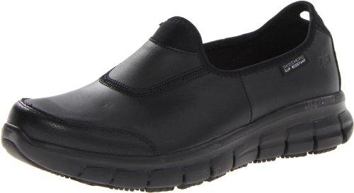 Skechers Women's Sure Track Lightweight Slip Resistant Slip On Work Shoe Black 9 M US