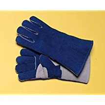 """Radnor Large Blue 14"""" Premium Side Split Cowhide Cotton/Foam Lined Insulated Welders Gloves, Wing Thumb (5 Pair)"""